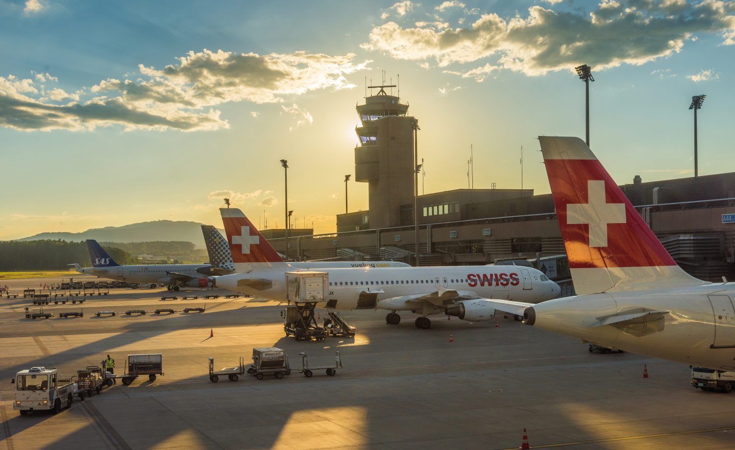 Kloten Airport In Zurich With Aircrafts